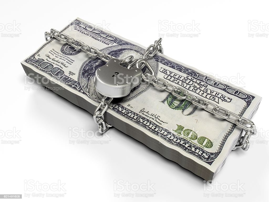 isolated on a white background pack dollars closed lock, the Lizenzfreies stock-foto