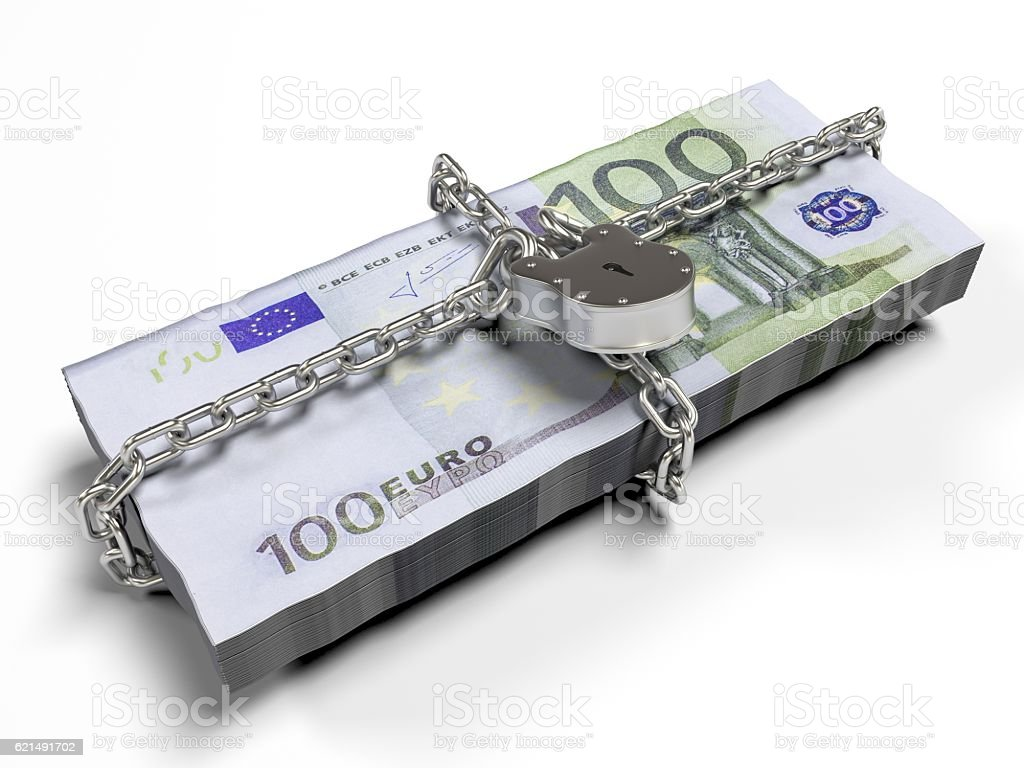 isolated on a white background pack dollars closed lock, the photo libre de droits