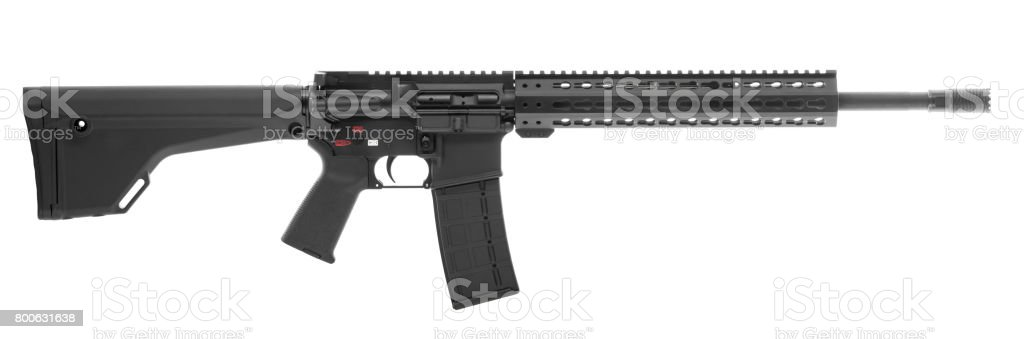 AR 15 Isolated on White Background Right stock photo