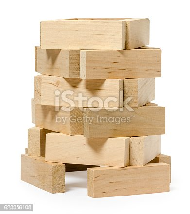 istock isolated on white wooden structure from bricks 623356108