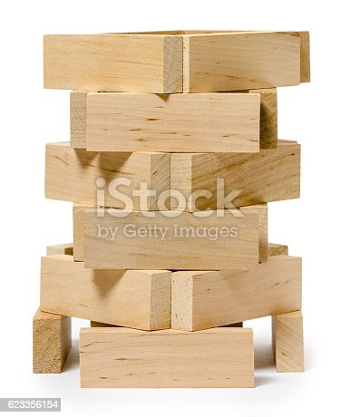 istock isolated on white wooden structure from bricks 623356154