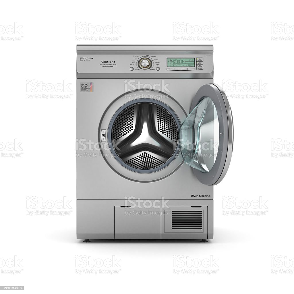 Isolated open Dryer machine stock photo