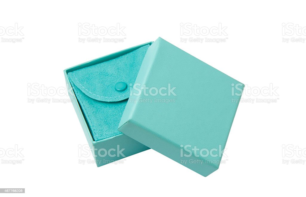 Isolated opened turquoise gift box on white with path stock photo