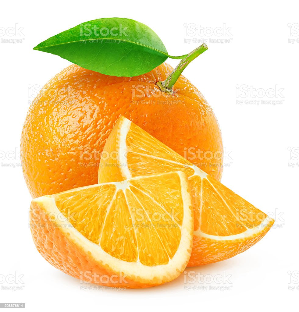 Isolated orange fruit and slices stock photo