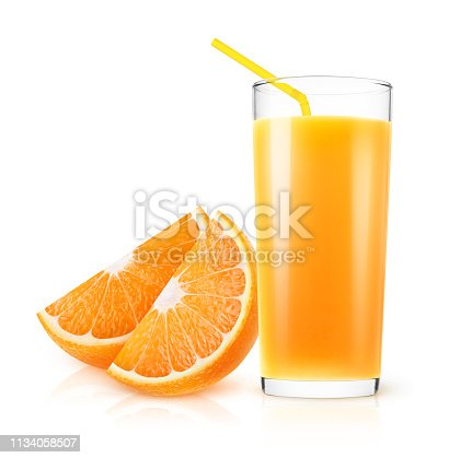 Isolated orange juice. Fresh orange juice in a glass and pieces of fruit isolated on white background with clipping path