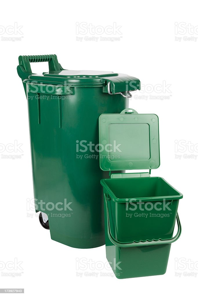 Isolated Organic Green Bins stock photo