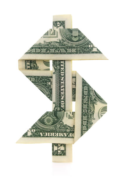 Isolated Origami Dollar Sign stock photo