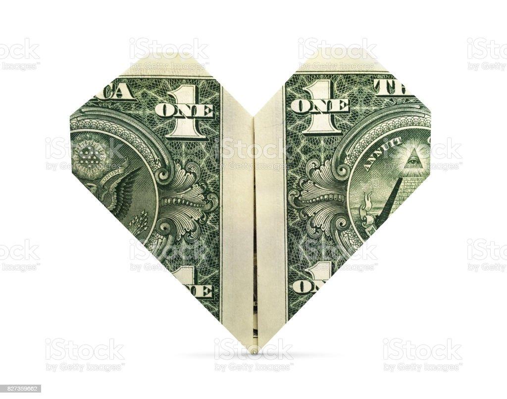 Isolated Origami Heart stock photo