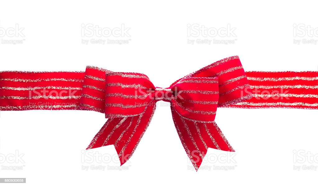 Isolated ornamental red ribbon stock photo