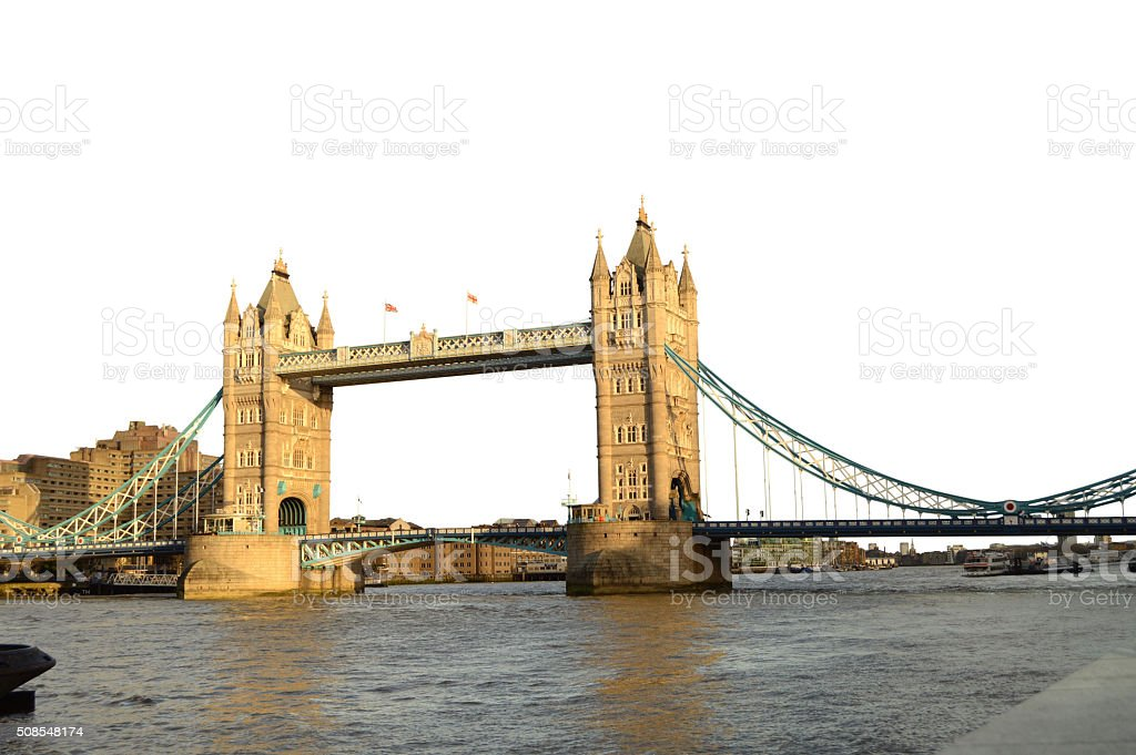 Isolated over white - London Tower Bridge on Thames River stock photo