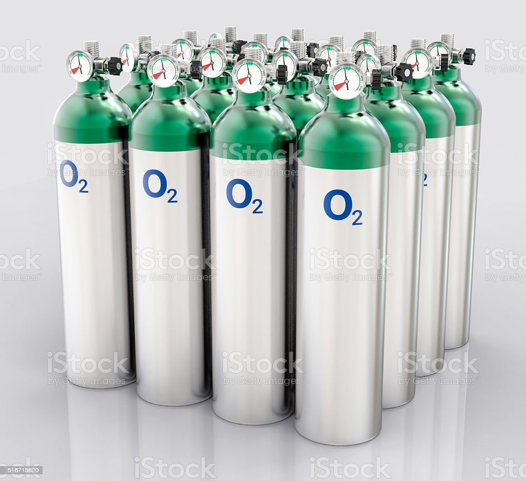 3D Isolated Oxygen Tank stock photo