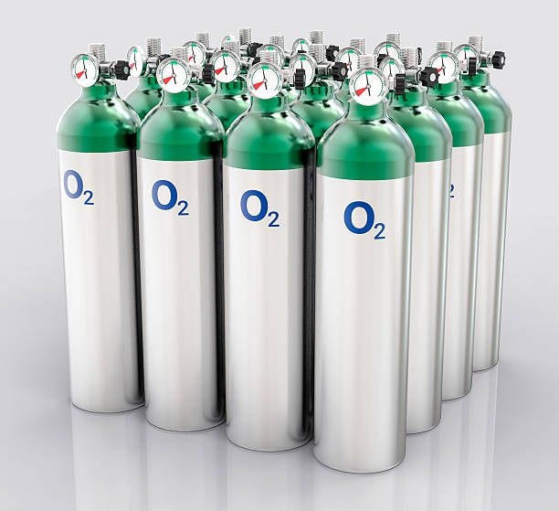 3D Isolated Oxygen Tank 3D Isolated Oxygen Tank. Hospital equipment illustration. medical oxygen equipment stock pictures, royalty-free photos & images