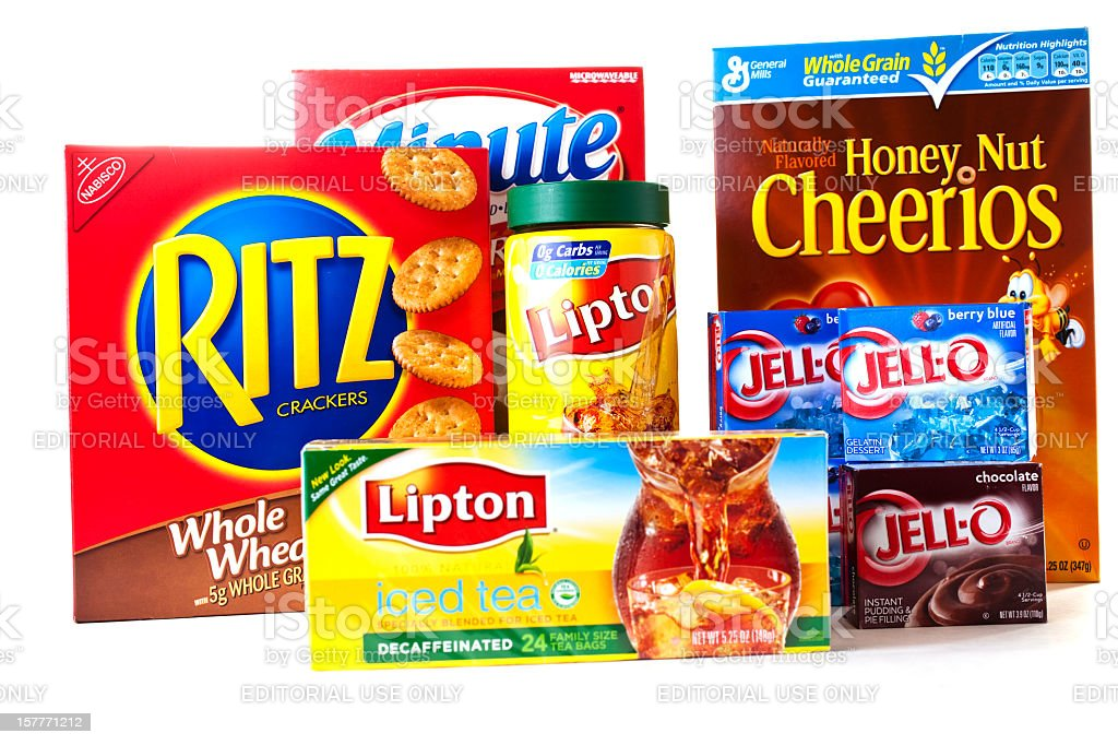Isolated packaging on a variety of food products. stock photo