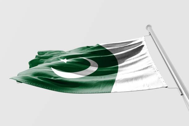 Isolated Pakistani Flag waving 3d Realistic fabric stock photo