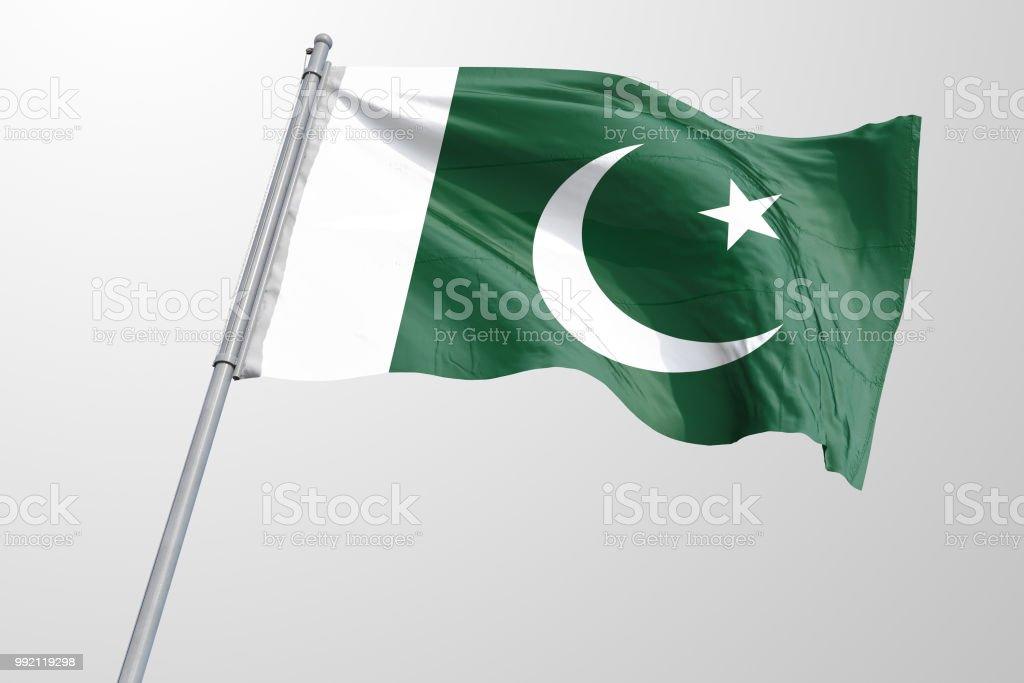 Isolated Pakistani Flag waving 3d Realistic Pakistani fabric stock photo