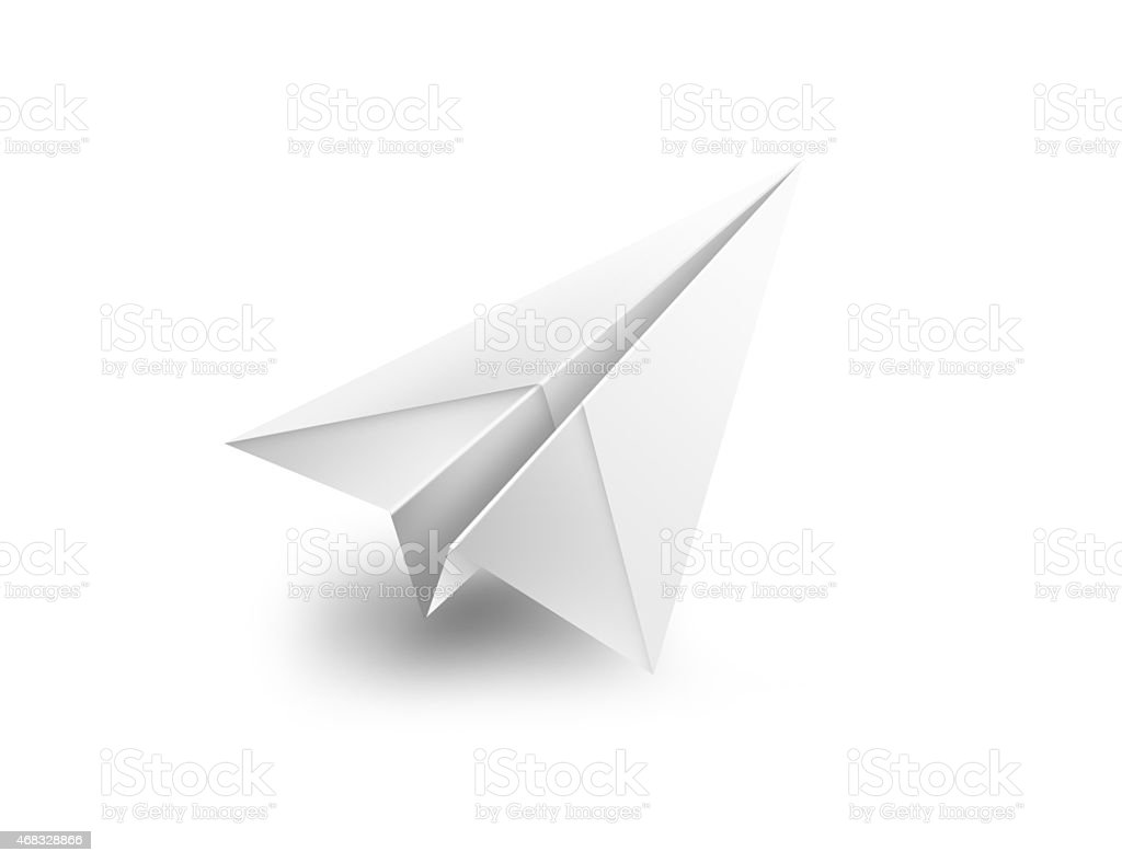 isolated paper airplane flying - 3d shape render illustration stock photo