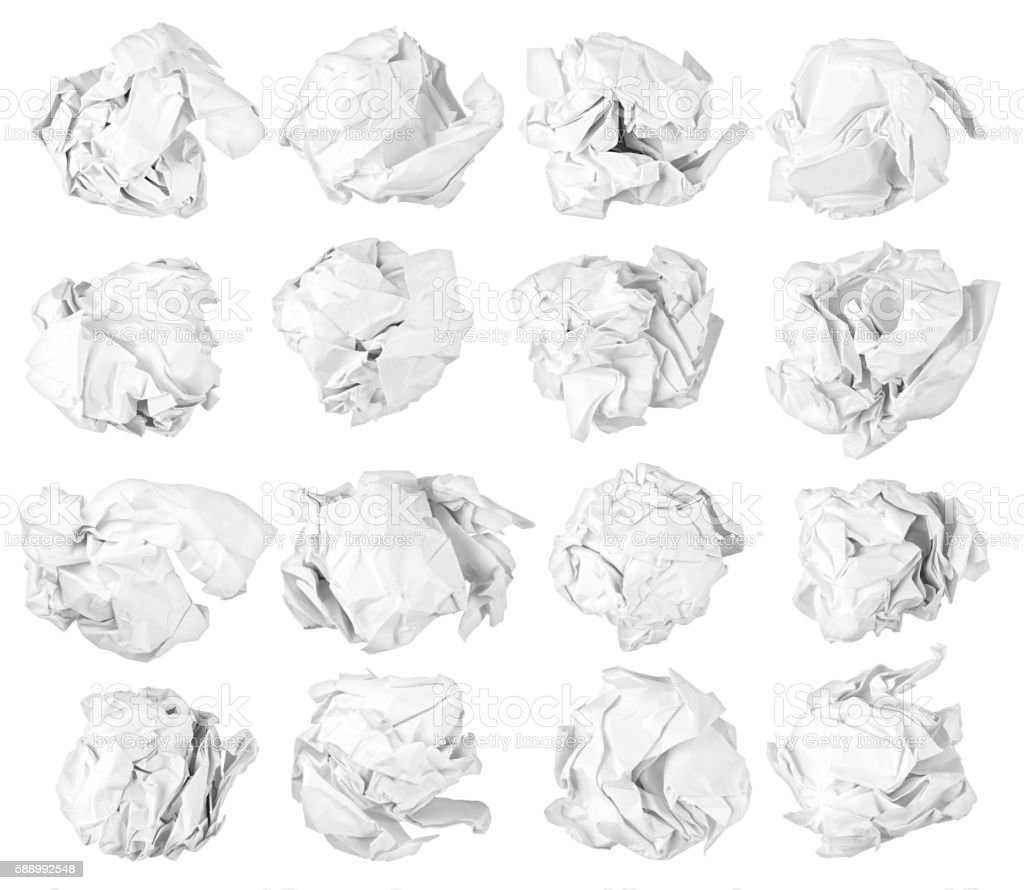 isolated paper balls stock photo