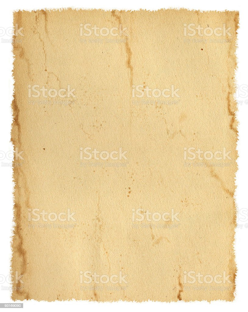 Isolated Paper; Torn and Stained stock photo