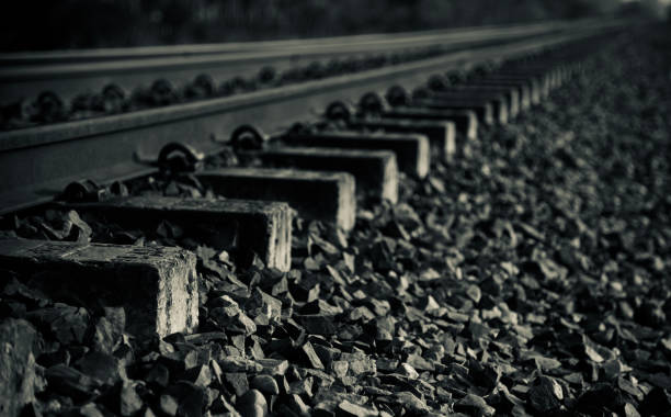 Isolated parts of a railway tracks unique photo stock photo