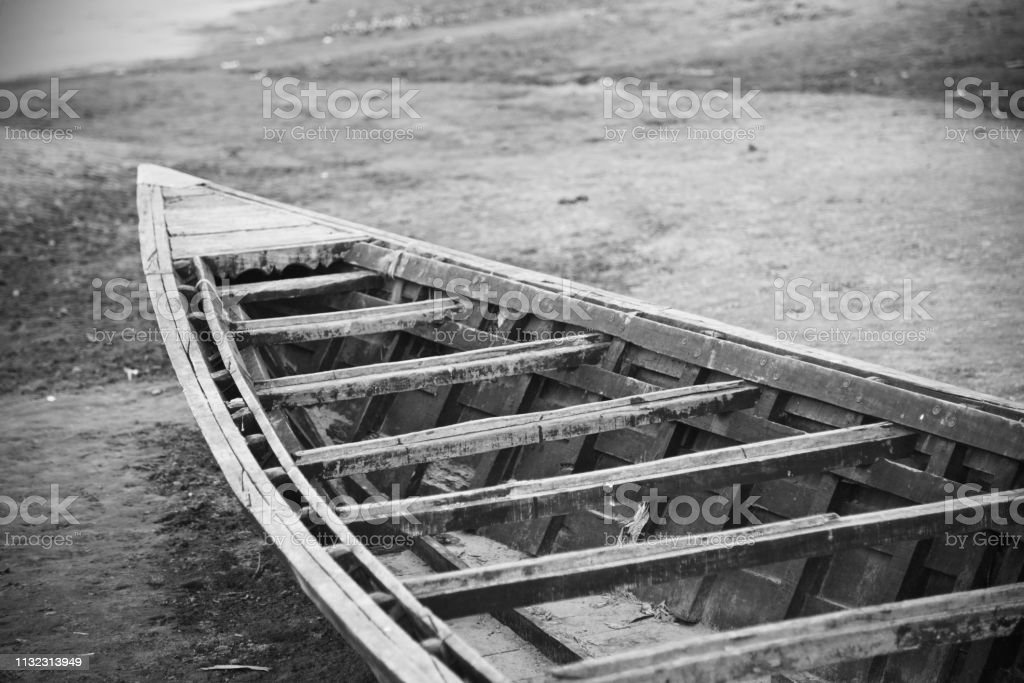 Isolated parts of a traditional fishing boat stock photo