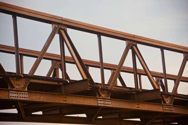 Isolated parts of a traditional metallic bridge stock photo