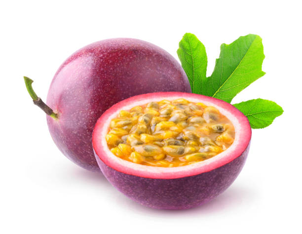 isolated passion fruits - passiflora foto e immagini stock