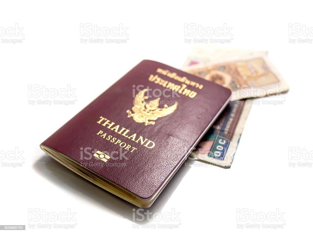 Isolado passport notas de banco e as moedas foto royalty-free