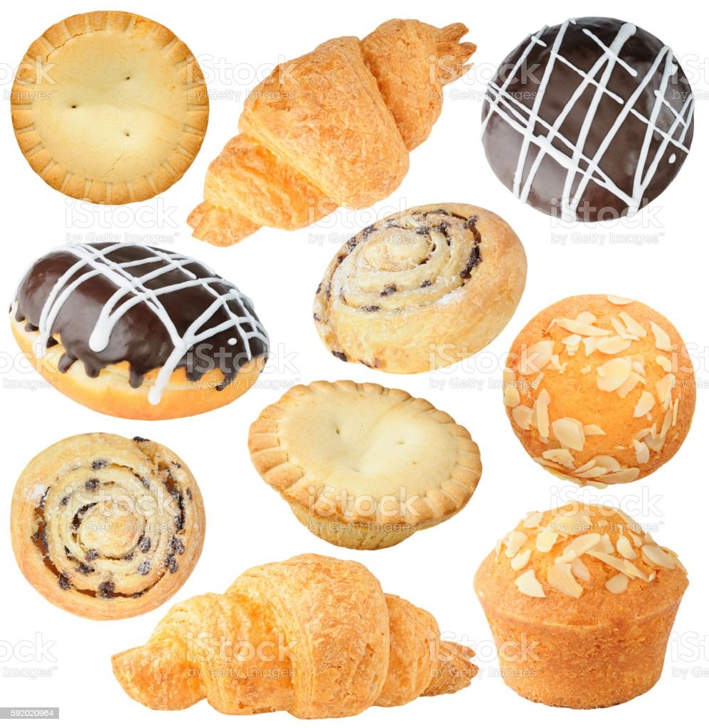 Isolated pastry collection stock photo
