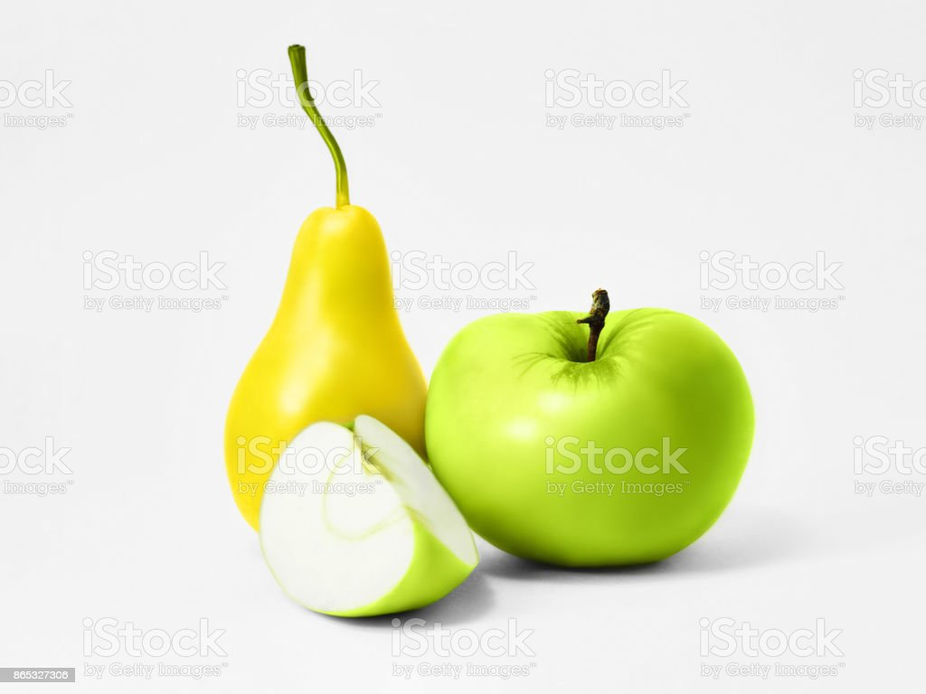 Isolated pear and green apple stock photo