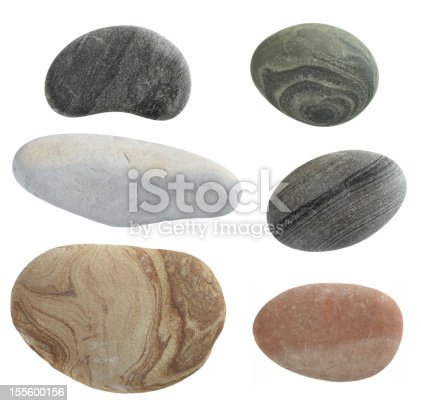 collection of pebbles isolated on white background