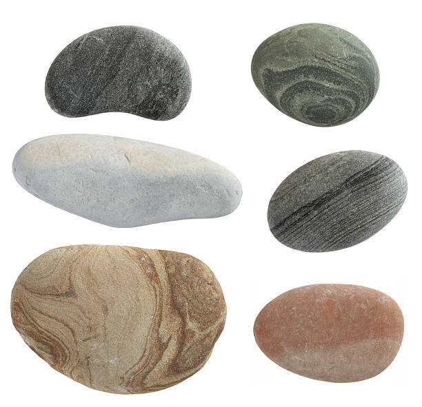 isolated pebbles stone collection of pebbles isolated on white background rock object stock pictures, royalty-free photos & images