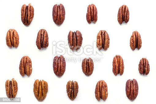 Isolated nuts on white background. Top view.