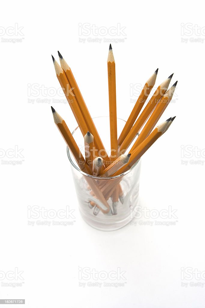 Isolated pencils in a glass royalty-free stock photo