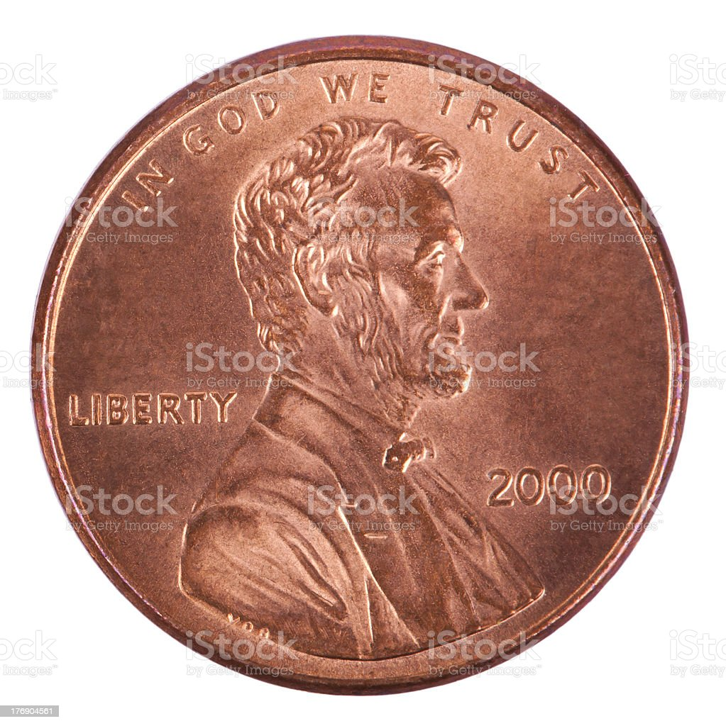 Isolated Penny - Heads Frontal royalty-free stock photo