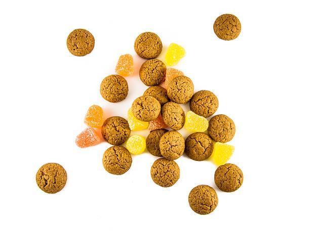 isolated pepernoten and sweets - kruidnoten stockfoto's en -beelden
