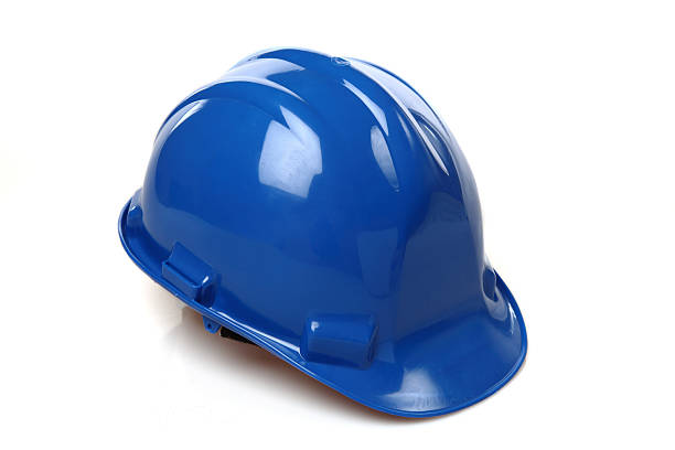 Isolated picture of a blue construction hat stock photo