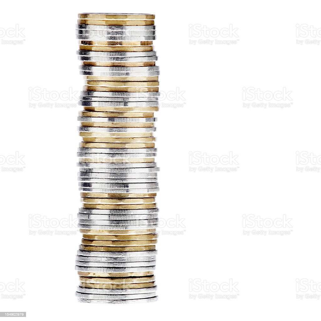 Isolated picture of a stack of coins stock photo