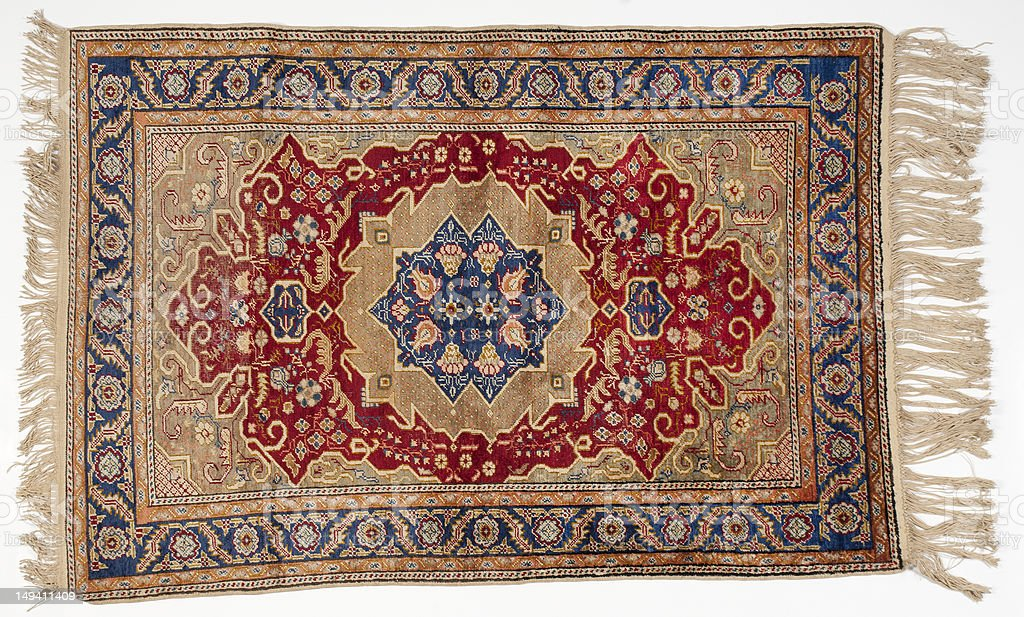 Isolated picture of a traditional middle-eastern rug stock photo