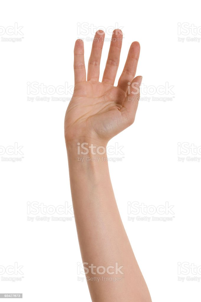 Isolated picture of an open hand royalty-free stock photo