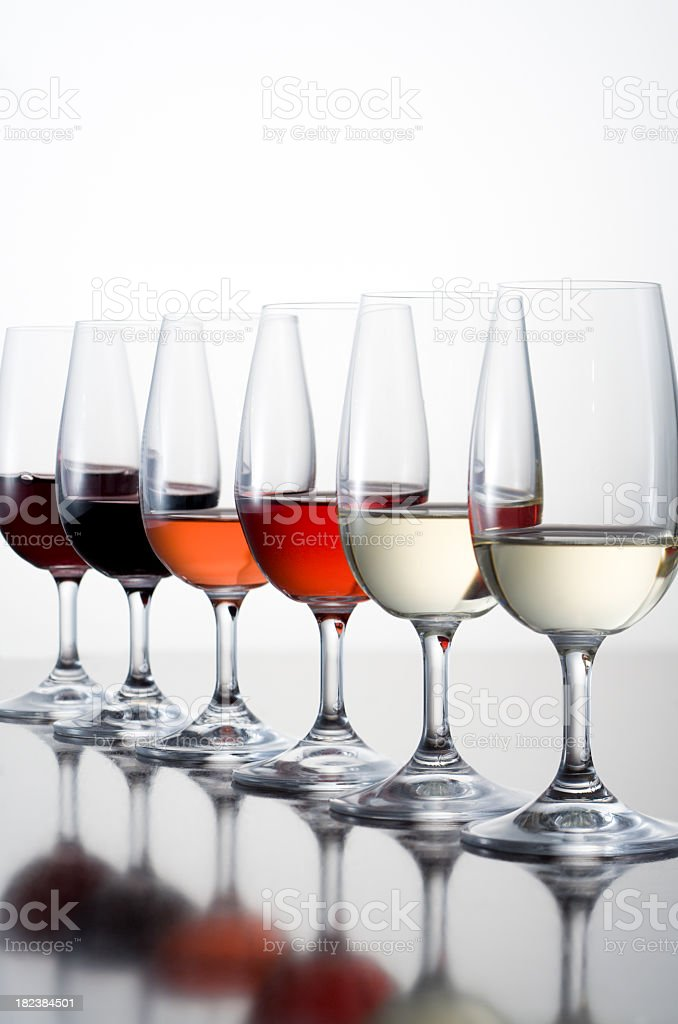 Isolated picture of different kinds of wine on wine glasses royalty-free stock photo