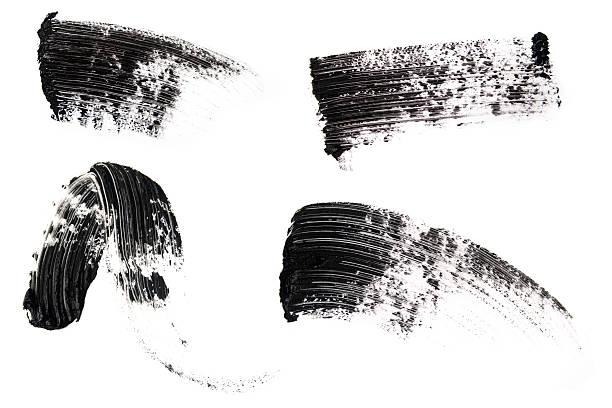 isolated picture of mascara smears - bevlekt stockfoto's en -beelden