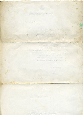 old white paper, back of a letter