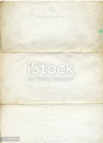 istock Isolated picture of old, aged white paper 121305616