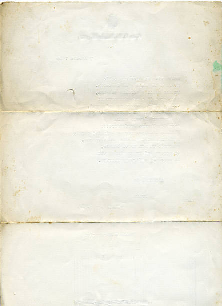Isolated picture of old, aged white paper stock photo