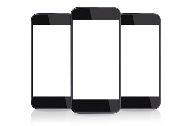 isolated picture of three smart phones with blank screens - three objects stock pictures, royalty-free photos & images