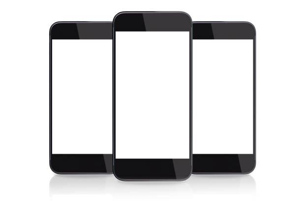 """telefone inteligente com tela em branco, isolada no branco """" - três objetos - fotografias e filmes do acervo"""