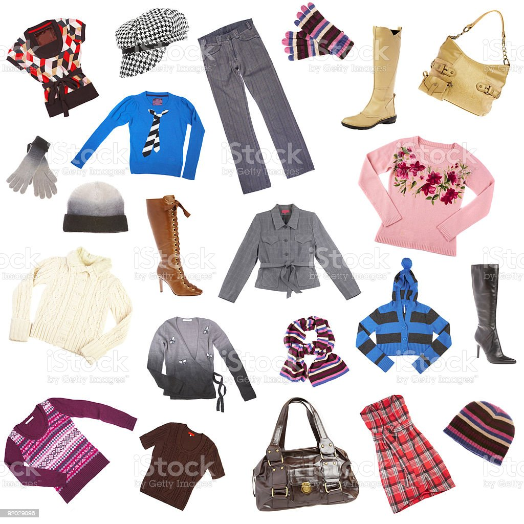 Isolated picture of various winter clothes and accessories stock photo