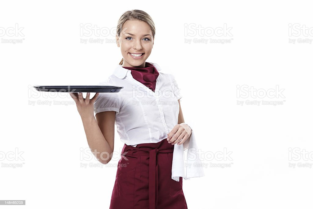 Isolated picture of waitress holding empty tray stock photo