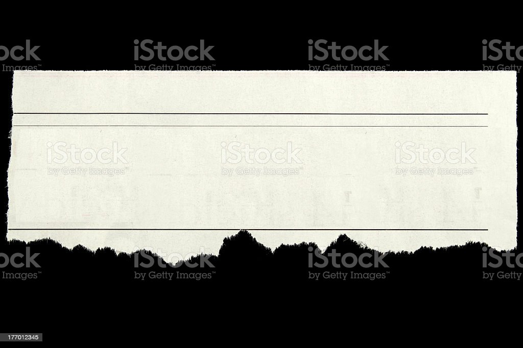 Isolated picture on black of a blank newspaper clipping royalty-free stock photo