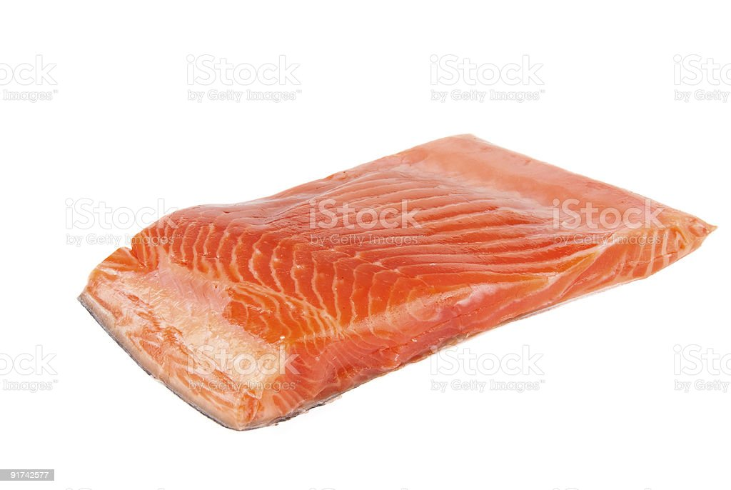 Isolated piece of red salmon on a white background royalty-free stock photo